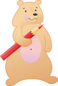 The bear is with a pencil — Stock Vector