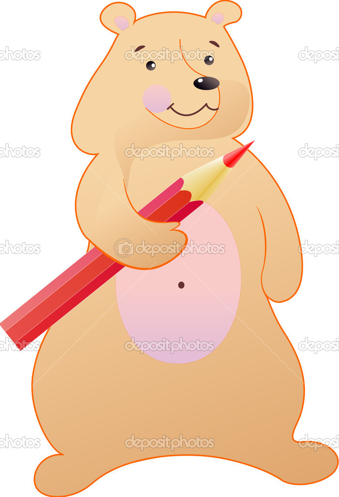The bear is fun with a red pencil — Stok Vektör #10867959
