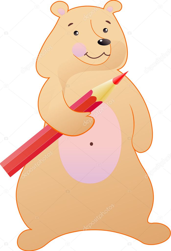 The bear is fun with a red pencil — Vettoriali Stock  #10867959