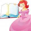 The princess with book — Stock Vector