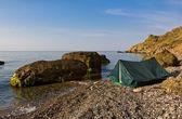 Touristic camp on a sea cost — Stock Photo