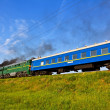 Running blue train — Stock Photo #11034113