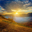 Sunrise above a mountain valley — Stock Photo