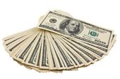 Fã de dólares americanos em um branco — Foto Stock