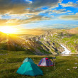 Stock Photo: Touristic camp in a mountains at the morning