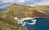 Mountain lake panorama caucasus russia — Stock Photo