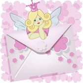 The beautiful fairy with the letter — Vector de stock