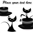 Stock Vector: Two black cats with black cups