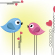 Stock Vector: Two loving birds