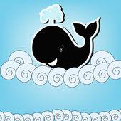 Ballena negra en el mar — Vector de stock