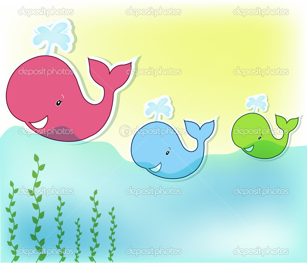 Three funny whale in the sea  Stock Vector #11819827