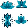 Four symbols from the blue petals — Stock Vector