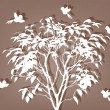 White tree with birds — Stockvektor