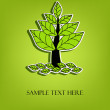 Beautiful vector tree with green leaves — Stock Vector