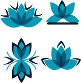 Quattro simboli dai petali blu — Vettoriale Stock