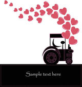 Black smoke from a tractor with hearts — Stock Vector