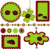 Digital vector scrapbook with ladybug — Stock Vector