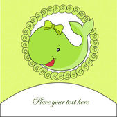 A beautiful card with a green whale — Stock Vector