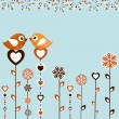 Birds with flowers — Image vectorielle