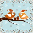 A beautiful Christmas card with the birds — Imagen vectorial