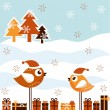 Stock Vector: A beautiful Christmas card with the birds