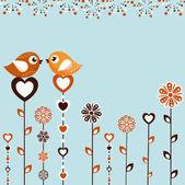 Birds with flowers — Stock Vector