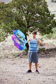 Teenager and his Kite — Stock Photo