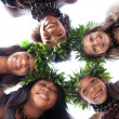 Pretty Polynesian Girls in a circle — Stock Photo