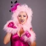 güzel bir kadın kedi kostüm — Stok fotoğraf