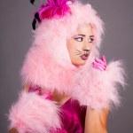 kedi kostümü içinde genç bir kadın profili — Stok fotoğraf