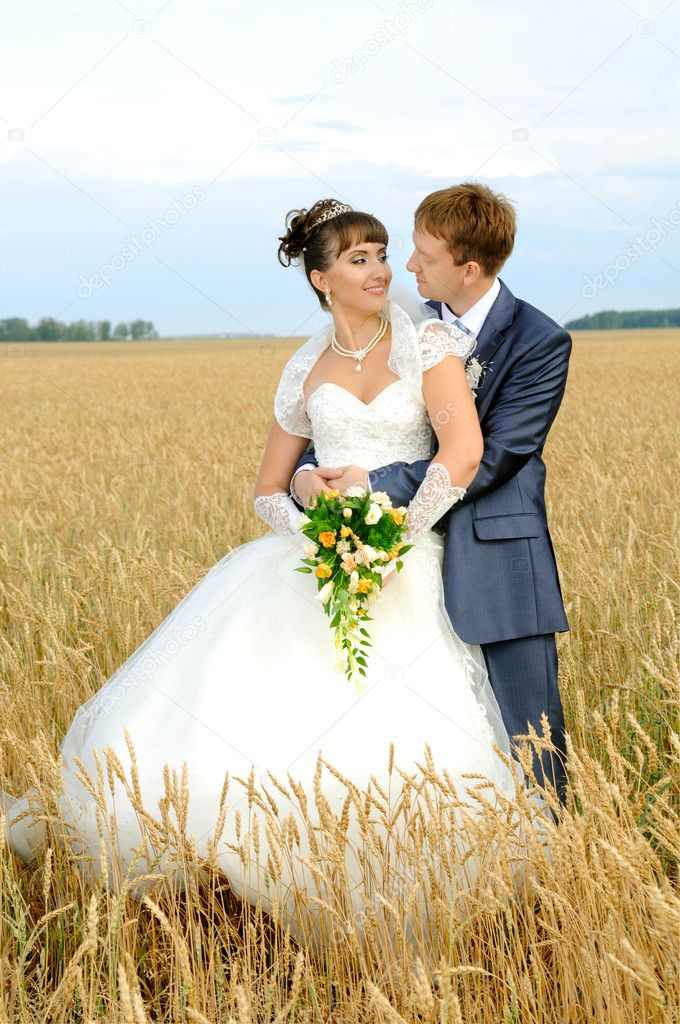 Cutie happy married  couple  on nature, on wheaten field,  embrace and smile  Stock Photo #11689662