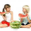 Stock Photo: Children with watermelon
