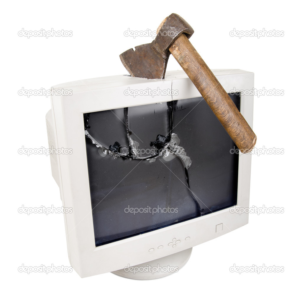 White  crash monitor with  red axe, on white background, isolated  Stock Photo #11700319