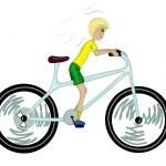 Постер, плакат: Kid with too big bicycle