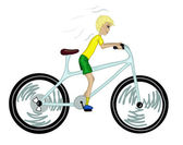 Kid with too big bicycle. — Stock Vector