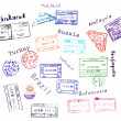 Real visa stamps from 9 countries - Stockvectorbeeld