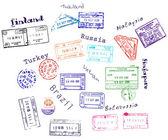 来自 9 个国家真正签证邮票 — 图库矢量图片
