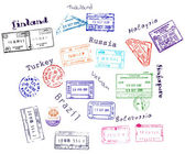 Real visa stamps from 9 countries — ストックベクタ