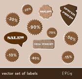 Wooden sale tags — Vector de stock