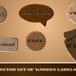 Stock Vector: Vector set of wooden labels