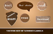 Vector set of wooden labels — Stock Vector