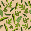 Seamless texture with leaves — Imagen vectorial