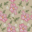 Seamless texture with tropical pink flower. - Stockvectorbeeld