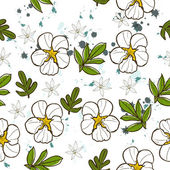 Seamless texture with white flower. — Stock Vector