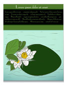 Card with water lily. — Stock Vector