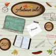 Back to school and autumn sale poster. — Vektorgrafik