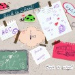 Scrapbooking set with school elements. - Imagens vectoriais em stock