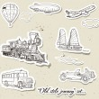 Vector set of vintage transport — Stock Vector