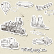 Vector set of vintage transport — Stockvektor