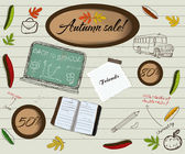 Back to school and autumn sale poster. — Stock Vector